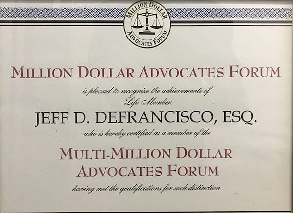 Million Dollar Advocates Forum Jeff DeFrancisco